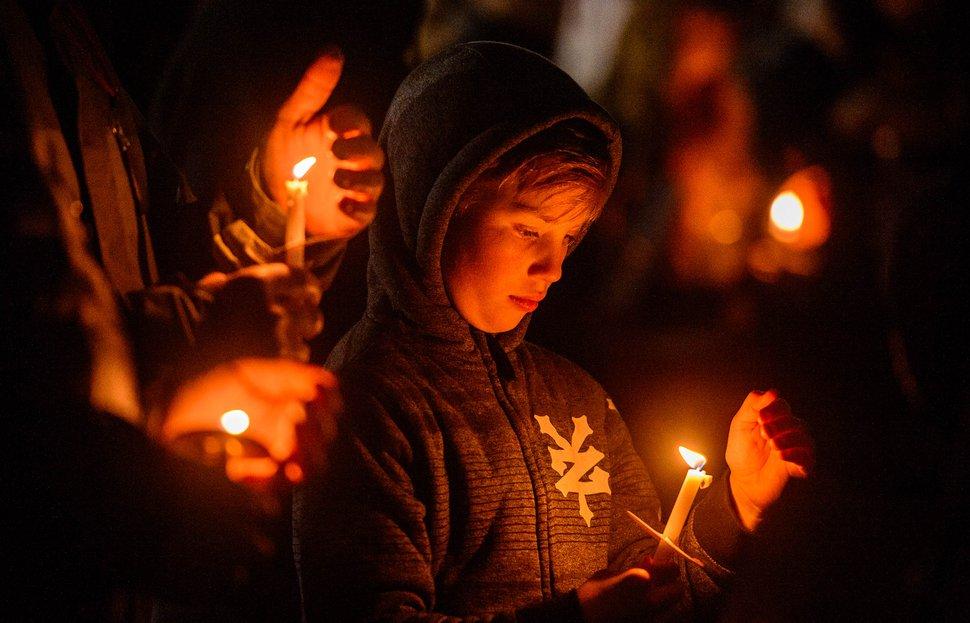 (Trent Nelson | The Salt Lake Tribune) Chase Hansen at the Homeless Persons' Memorial Candlelight Vigil in Salt Lake City's Pioneer Park on Thursday, Dec. 19, 2019.