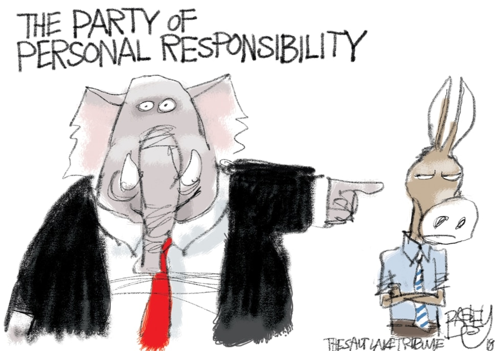 This Pat Bagley cartoon appears in The Salt Lake Tribune on Sunday, Jan. 22, 2018.