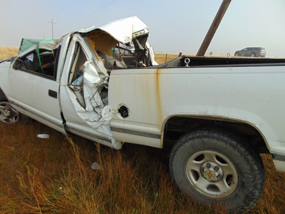 A GMC pickup truck sits along U.S. Highway 89 near Fairview after a crash on Sept. 16, 2017. The wreck killed Randall Hill, 60. Photo courtesy Utah Highway Patrol.