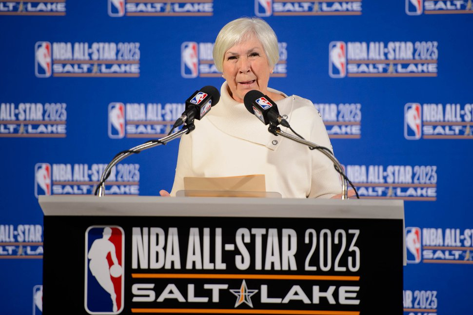 (Trent Nelson | The Salt Lake Tribune) Larry H. Miller Group of Companies owner Gail Miller speaks as the Utah Jazz and NBA announce that Salt Lake City will host the 2023 NBA All-Star Game at a news conference on Wednesday Oct. 23, 2019.