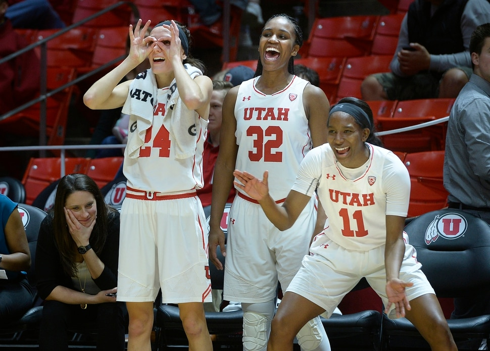 (Scott Sommerdorf | The Salt Lake Tribune) Tilar Clark, Tanaeya Boclair, and Erika Bean, right, celebrate a 3-pointer by Tori Williams during second half play. The Utah women beat Nevada 87-61, Friday, November 10, 2017.