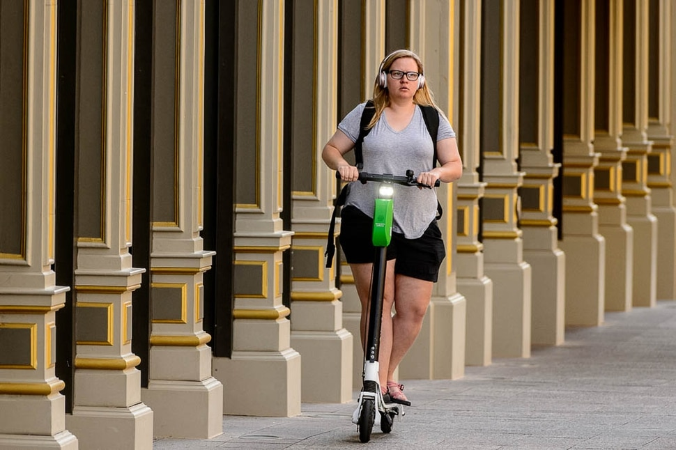 (Trent Nelson | The Salt Lake Tribune) Scooters have become a common sight in downtown Salt Lake City, Monday Sept. 10, 2018.