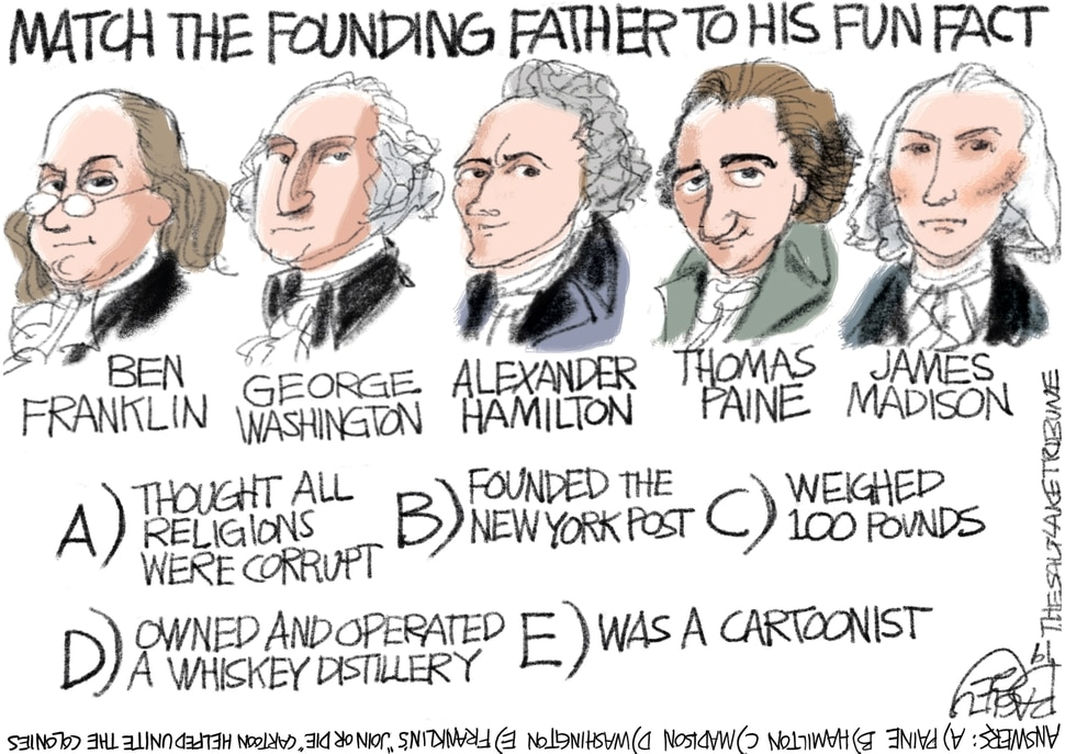 (Pat Bagley | The Salt Lake Tribune) This Pat Bagley cartoon, titled Founding Fathers Fun Facts, appears in The Salt Lake Tribune on Tuesday, July 2, 2019.
