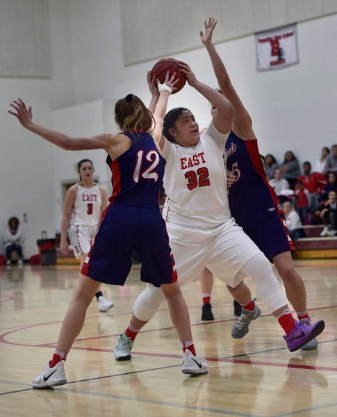 (Scott Sommerdorf | The Salt Lake Tribune) East's Lani Taliauli makes a power move into the paint during second half play. East beat Woods Cross 50-36, Friday, December 15, 2017.