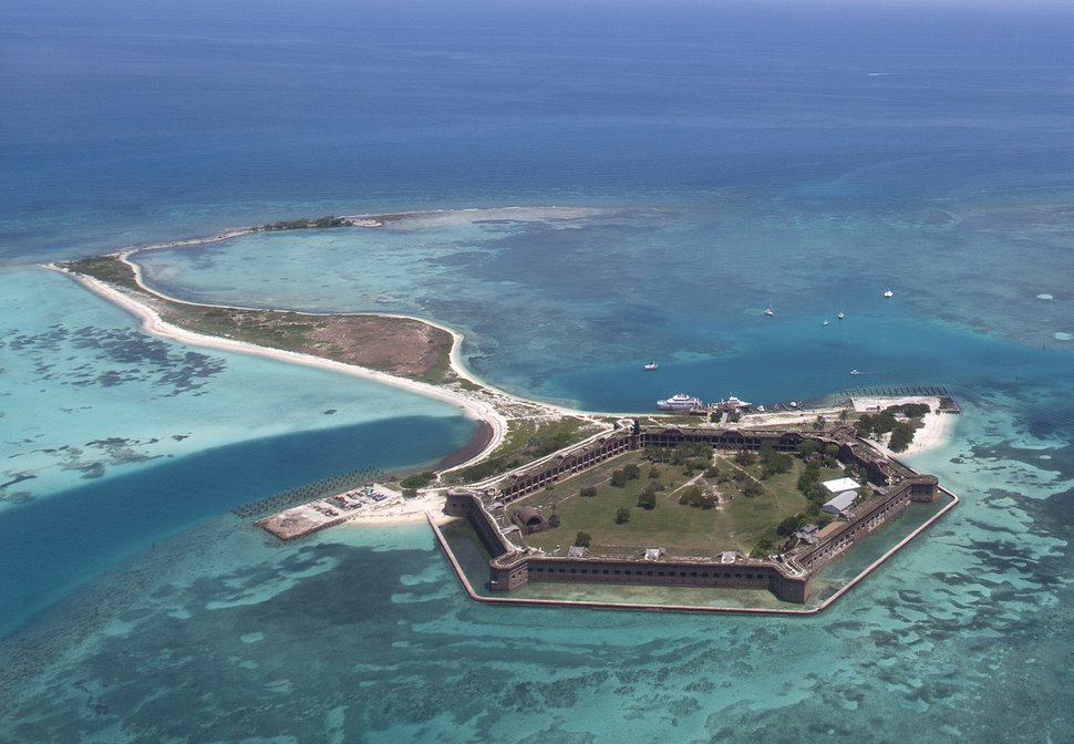 In this, Tuesday, May 19, 2015 aerial photo, Fort Jefferson on Garden Key is shown in Dry Tortugas National Park, Fla. (AP Photo/Wilfredo Lee)