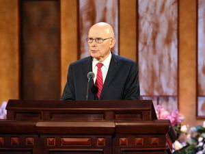 (The Church of Jesus Christ of Latter-day Saints) President Dallin H. Oaks, first counselor in the governing First Presidency, speaks at General Conference about the U.S. Constitution on Easter Sunday, April 4, 2021.