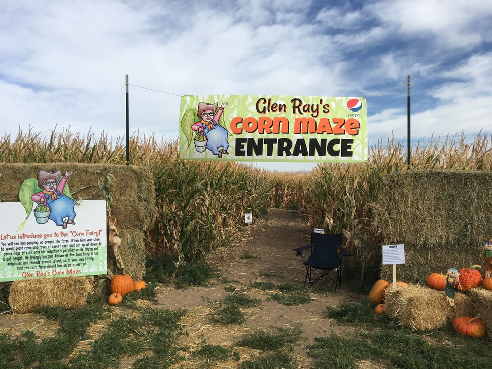(Photo courtesy of Glen Ray's Corn Maze) Families enjoy the hay bale slide at Glen Ray's Corn Maze and Pumpkin patch in Spanish Fork.