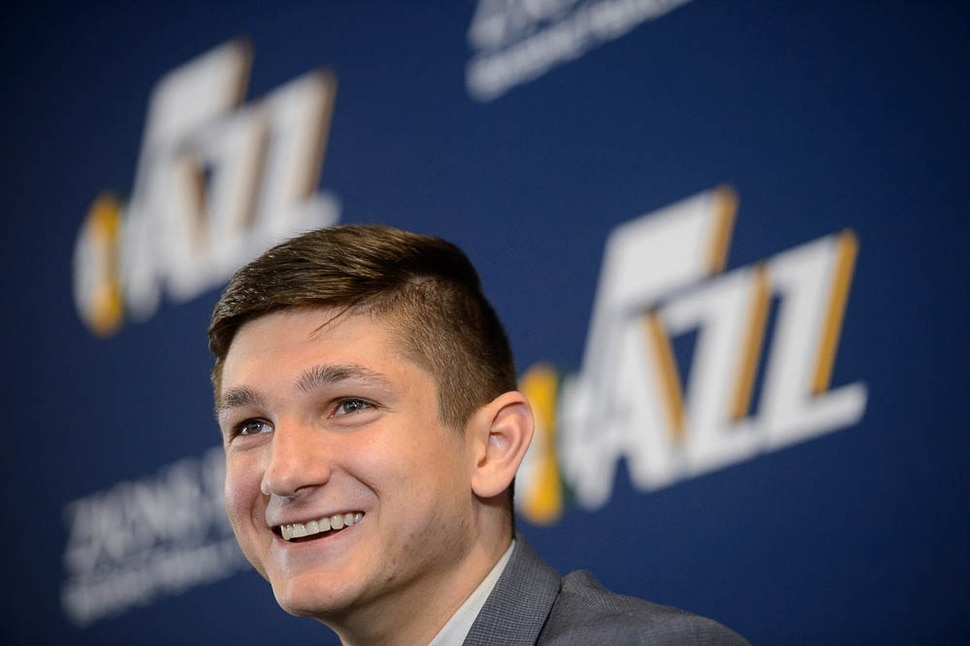 (Trent Nelson | The Salt Lake Tribune) The Utah Jazz introduce their top draft pick Grayson Allen in Salt Lake City, Wednesday June 27, 2018.