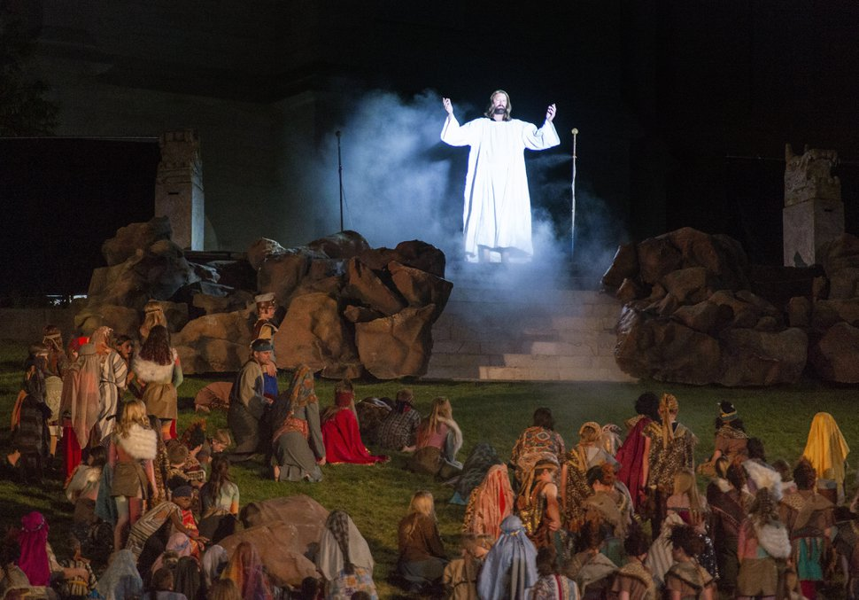(Rick Egan | The Salt Lake Tribune) Christ appears in America during the Miracle Pageant in Manti Wednesday, June 12, 2019. The final run for the pageant continues through Saturday, June 22.