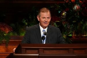 (The Church of Jesus Christ of Latter-day Saints) Apostle Gary E. Stevenson speaks at General Conference on Saturday, Oct. 2, 2021.