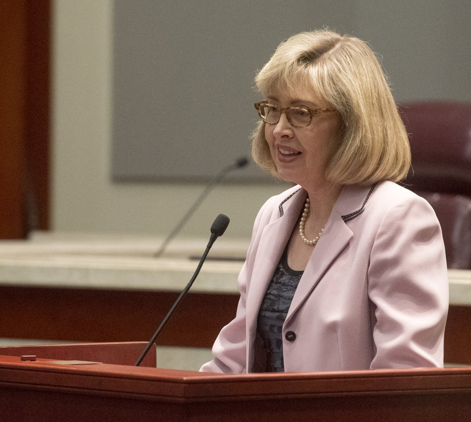 (Rick Egan | The Salt Lake Tribune) Judge Jill N. Parrish makes some remarks, at Justice Christine M. Durham's retirement her reception at the Matheson Courthouse, Monday, November 13, 2017.