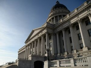 (Francisco Kjolseth    The Salt Lake Tribune) The sun sets on the last day of the Legislature's 2021 general session at the Utah Capitol in Salt Lake City on Friday, March 5, 2021.