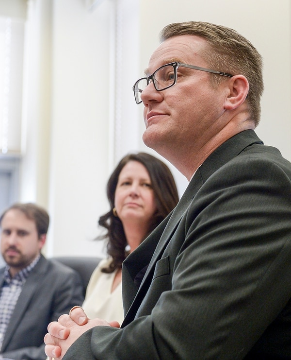 (Leah Hogsten | The Salt Lake Tribune) Teachers who remain in the classroom do so Òin spite of a steady barrage of challenges and disrespect,Ó said Mountain View Elementary Principal Kenneth Limb (right) at the Capitol Thursday, Feb. 22, 2018. Limb was speaking as part of a panel on teacher turnover, sponsored by the advocacy group Voices for Utah Children. In Utah, and around the nation, school administrators report struggling with a personnel shortage as teachers leave the profession in large numbers and fewer individuals pursue careers in education.