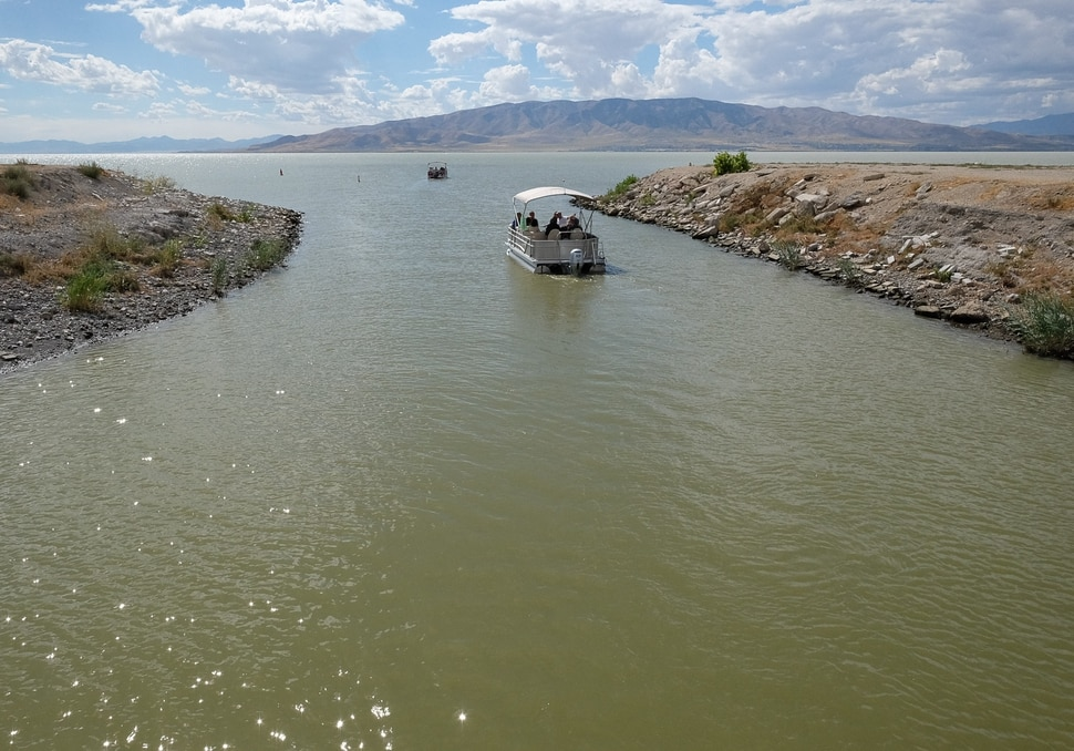 (Francisco Kjolseth | The Salt Lake Tribune) Members of the Legislative Water Development Commission take a tour of Utah Lake on Wednesday, Sept. 13, 2017, for the purpose of learning of wastewater treatment, the importance of protecting our lakes and rivers, how the state is looking to change water quality standards and how regulation is an important local issue.