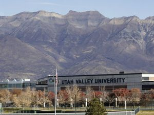 (AP | Rick Bowmer) This 2019 photo shows the campus of Utah Valley University in Orem, Utah. The school announced on Monday, Aug. 30, 2021, that it would be requiring students to get the COVID-19 vaccine.