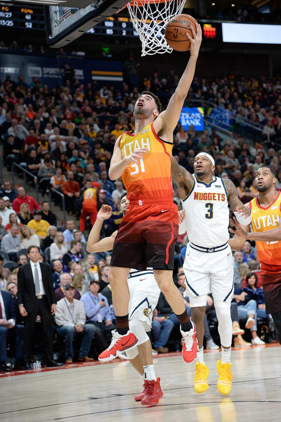 (Francisco Kjolseth | The Salt Lake Tribune) Utah Jazz forward Georges Niang (31) as the Utah Jazz host the Denver Nuggets in their NBA game at Vivint Smart Home Arena Tuesday, April 9, 2019, in Salt Lake City.