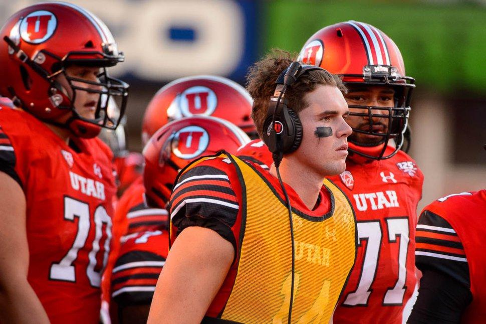 (Trent Nelson | The Salt Lake Tribune) Utah Utes quarterback Jack Tuttle (14) as the University of Utah Utes host the Weber State Wildcats, Thursday Aug. 30, 2018 at Rice-Eccles Stadium in Salt Lake City.