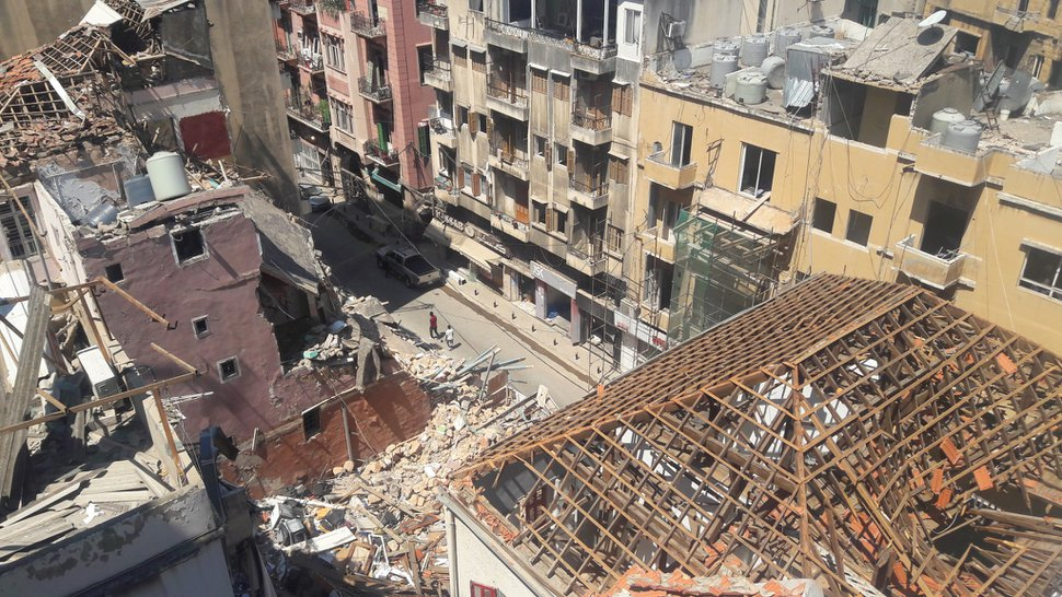 (Roula Akiki and courtesy of The Church of Jesus Christ of Latter-day Saints) The devastation in Beirut after the Aug. 4, 2020, explosion.