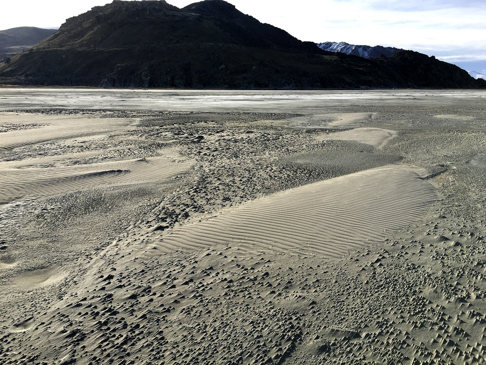 (Photo courtesy of Kevin Perry) Small sand dunes on the western shore of Antelope Island. Kevin Perry, an atmospheric sciences professor with the University of Utah, spent more than 125 days pedaling 2,300 miles around the Great Salt Lake to study the lake's heavy metals in lake dust and its effects on the Wasatch Front air quality.