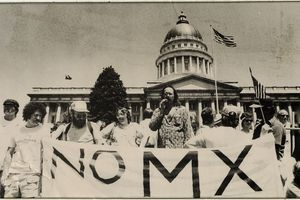 (J. Willard Marriott Library, University of Utah) MX missile protesters in Salt Lake City in this undated photo. Forty years ago this week, on May 5, 1981, the LDS Church came out against basing the nuclear missiles in Utah's West Desert.