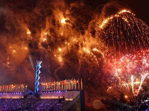 (Francisco Kjolseth  | Tribune file photo) Fireworks explode over Rice-Eccles Stadium during the Closing Ceremony for the 2002 Winter Olympic Games. Organizers of the group seeking to bring the Olympics back in 2030 or 2034 say improvements like the expansion of Rice-Eccles Stadium that was completed this year puts Salt Lake in good shape venue-wise.