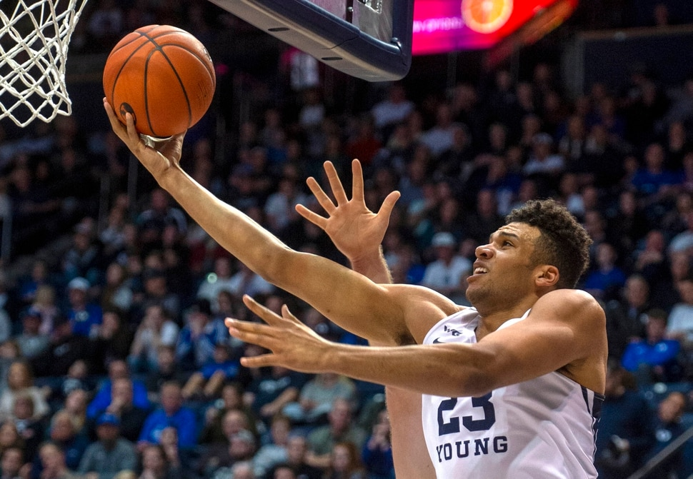 (Rick Egan | The Salt Lake Tribune) Brigham Young forward Yoeli Childs (23) scores for the Cougars, in West Coast Conference basketball acton between the Brigham Young Cougars and the San Francisco Dons, at the Marriott Center, Saturday, Feb. 8, 2020.