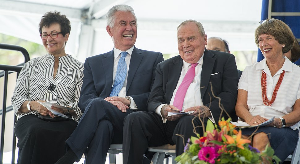 Leah Hogsten | The Salt Lake Tribune l-r Harriet Reich Uchtdorf, Dieter F. Uchtdorf, Second Counselor in the First Presidency of The Church of Jesus Christ of Latter-day Saints HCI founder and cancer survivor Jon M. Huntsman Sr. and wife Karen Huntsman share a laugh at the comments of their son Peter Huntsman, CEO of the Huntsman Cancer Foundation during the ceremony, which fell on Huntsman's 80th birthday. Huntsman Cancer Institute (HCI) dedicated the Primary ChildrenÕs and FamiliesÕ Cancer Research Center, a world-class facility dedicated to advancing cancer research and patient care, June 21, 2017.
