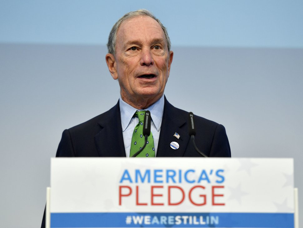 Former New York Mayor and billionaire Michael Bloomberg speaks in the U.S. Climate Action Center at the COP 23 Fiji UN Climate Change Conference in Bonn, Germany, Saturday, Nov. 11, 2017. The