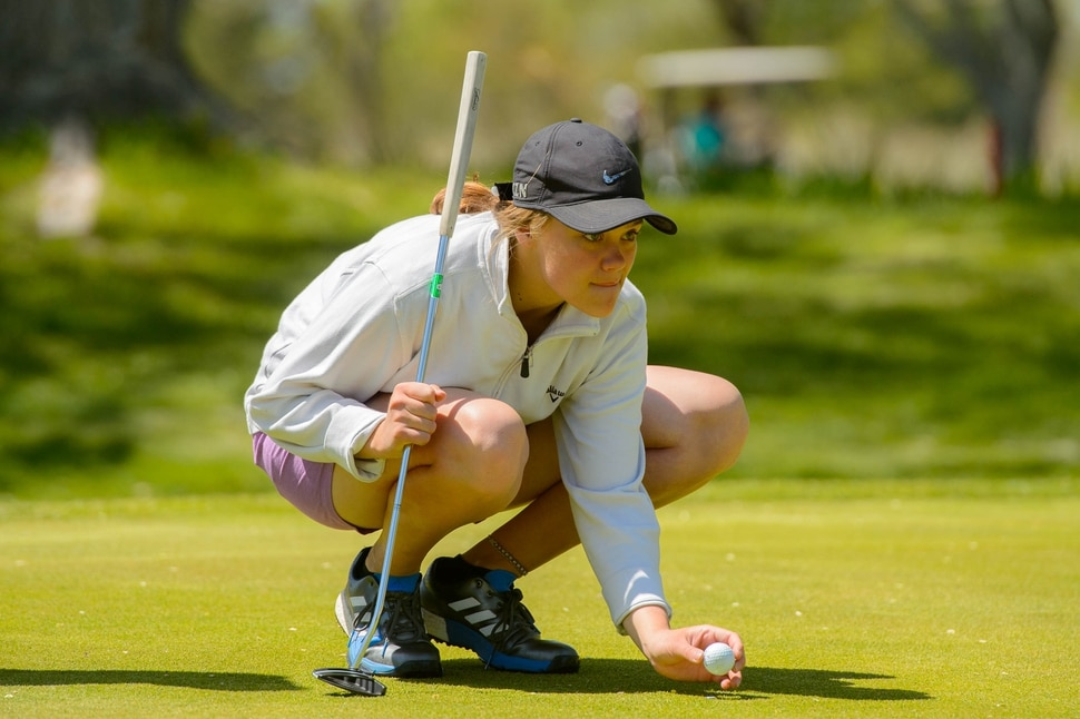 (Trent Nelson | The Salt Lake Tribune) Hunter High School's Lily Brock at Meadowbrook Golf Course in Taylorsville on Friday May 3, 2019.
