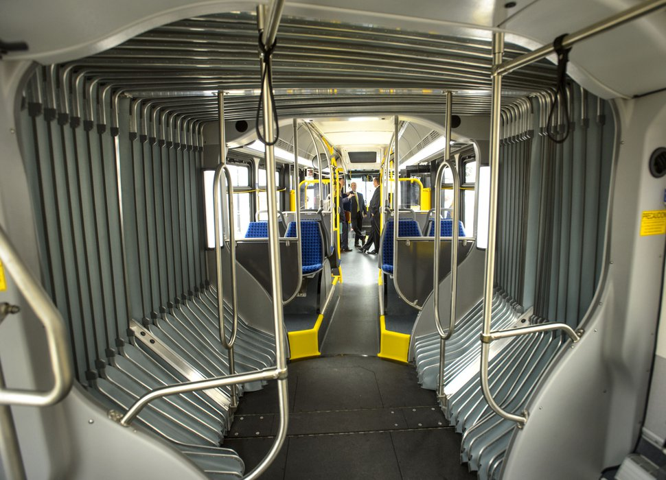 (Steve Griffin | The Salt Lake Tribune) Inside UTA's new long BRT (bus rapid transit) in front of the Capitol during Transit Day on Capitol Hill in Salt Lake City Friday, Feb. 2, 2018.