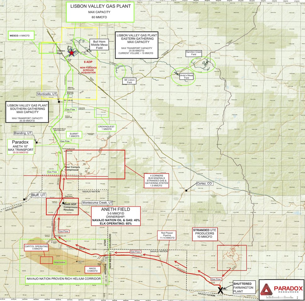 (Courtesy of Paradox Resources) Map of pipeline corridors and helium reserves in the Paradox Basin and Four Corners region.