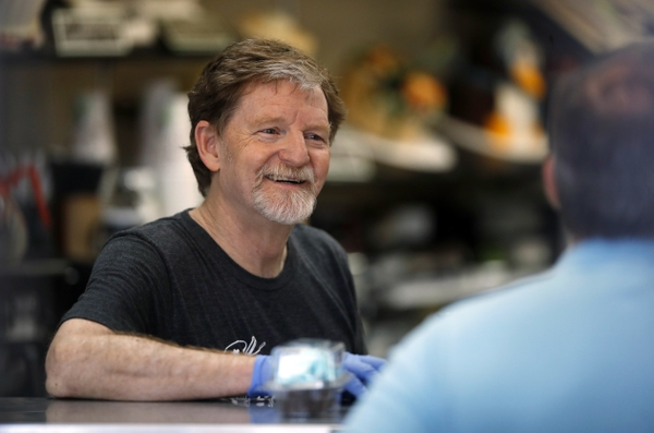 Baker Jack Phillips, owner of Masterpiece Cakeshop, manages his shop Monday, June 4, 2018, in Lakewood, Colo., after the U.S. Supreme Court ruled that he could refuse to make a wedding cake for a same-sex couple because of his religious beliefs. (AP Photo/David Zalubowski)