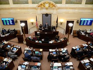 (Francisco Kjolseth    The Salt Lake Tribune) The Senate works in their final hours at the Capitol in Salt Lake City on Friday, March 5, 2021, during the final day of the Utah Legislature's 2021 general session.