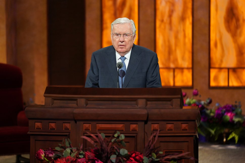 (Photo courtesy of The Church of Jesus Christ of Latter-day Saints) M. Russell Ballard, acting president of the Quorum of the Twelve Apostles, speaks at the Sunday morning session of the 190th Semiannual General Conference of The Church of Jesus Christ of Latter-day Saints on Oct. 4, 2020.