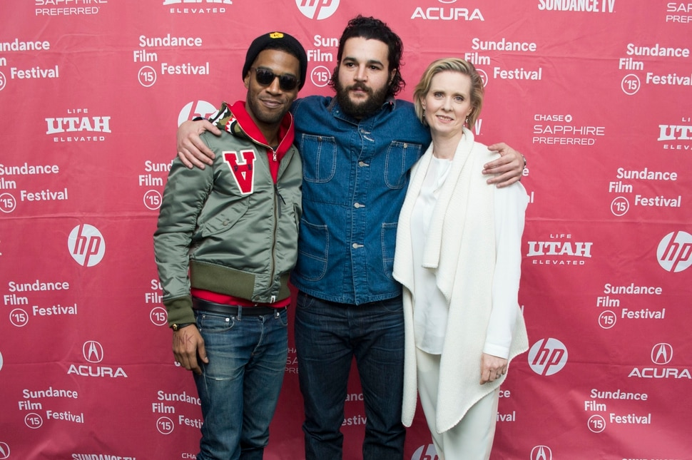 (Arthur Mola | Invision/AP) Christopher Abbott, center — seen here with Kid Cudi and Cynthia Nixon at the Sundance premiere of the 2015 film James White — will appear at the 2020 Sundance Film Festival to promote the films Black Bear and Possessor.