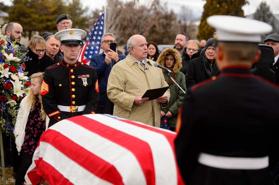 (Trent Nelson | The Salt Lake Tribune) Tom Hatch gives a life sketch of his uncle, Marine Pfc. Robert J. Hatch, at the Bountiful City Cemetery on Saturday Dec. 14, 2019. Hatch was killed in action Nov. 22, 1943 on the island of Betio.