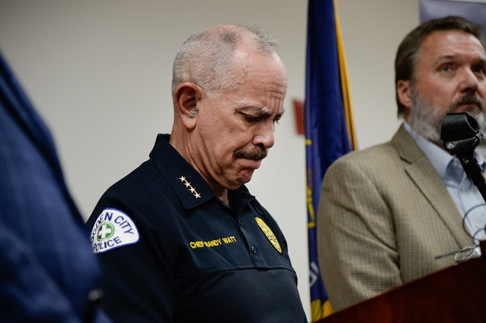 (Francisco Kjolseth | The Salt Lake Tribune) Ogden Police Chief Randy Watt holds back tears as he holds a press conference at the Ogden Police Department to talk about an officer who died after responding to a domestic violence call on Thursday, May 28, 2020.