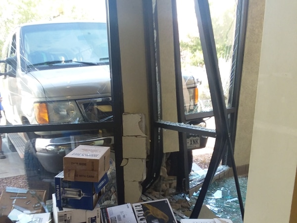 (Photo courtesy of Utah Department of Alcoholic Beverage Control) A van crashed into the Moab liquor store on Monday, causing major structural damage.