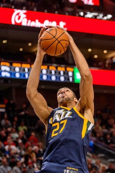 (Trent Nelson | The Salt Lake Tribune) Utah Jazz center Rudy Gobert (27) pulls in a rebound as the Utah Jazz host the Portland Trail Blazers, NBA basketball in Salt Lake City, Wednesday November 1, 2017.