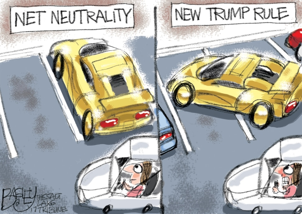 (Pat Bagley | The Salt Lake Tribune) This Pat Bagley cartoon, titled Non-Net Neutral Jerk, appears in The Salt Lake Tribune on on Wednesday, Nov. 22, 2017.