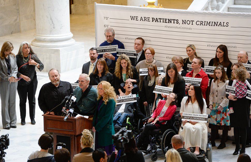 Francisco Kjolseth | The Salt Lake Tribune District Attorney Sim Gill holds a press conference at the State Capitol to announce a new patient initiative supporting medical cannabis as patients relay their difficult stories. Medical cannabis patients, each representing a different condition covered under Senator Madsen's bill, openly admit having violated Utah's marijuana laws out of medical necessity. District Attorney Sim Gill is advocating in support of changing policy to ensure that patients are not treated as criminals.