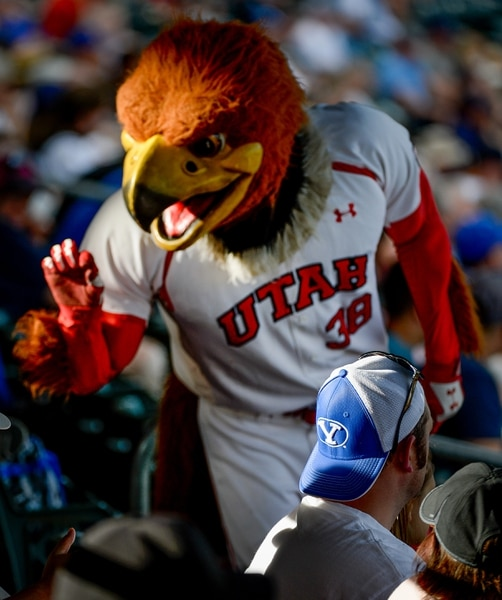(Francisco Kjolseth | The Salt Lake Tribune) Swoop has a little fun with the BYU fans as Utah and BYU renew their rivalry on the baseball diamond as they battle it out at Smith's Ballpark in Salt Lake City on Tuesday, May 14, 2019.