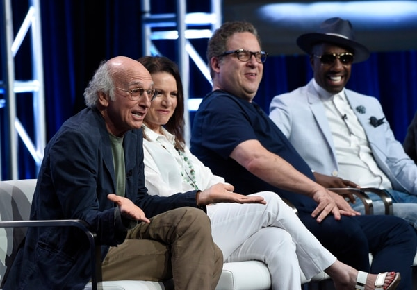 Actor/creator/executive producer Larry David, from left, Susie Essman, actor/executive producer Jeff Garlin and J.B. Smoove participate in the