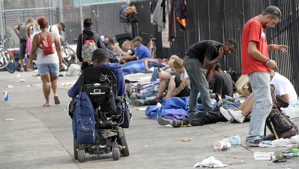 Al Hartmann | The Salt Lake Tribune Scene along 500 West between 200 and 300 S. Wednesday July 19. Many people sleep on sidewalk with their belongings and makeshift shelters. Camping on the street is a class B misdemeanor and can now be enforced.