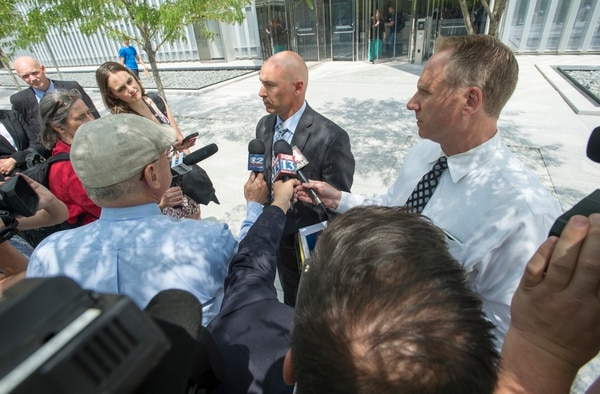 Rick Egan | The Salt Lake Tribune Federal prosecutor, Rob Lund talks to the press after Lyle Jeffs, arraignment at the federal court house, Monday, July 10, 2017.