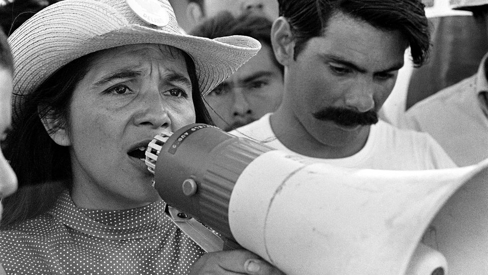 (George Ballis | Take Stock / The Image Works / courtesy PBS) Dolores Huerta, co-founder of the United Farm Workers, organizes marchers in Coachella, Calif., on March 2, 1969. Huerta's life is chronicled in the documentary