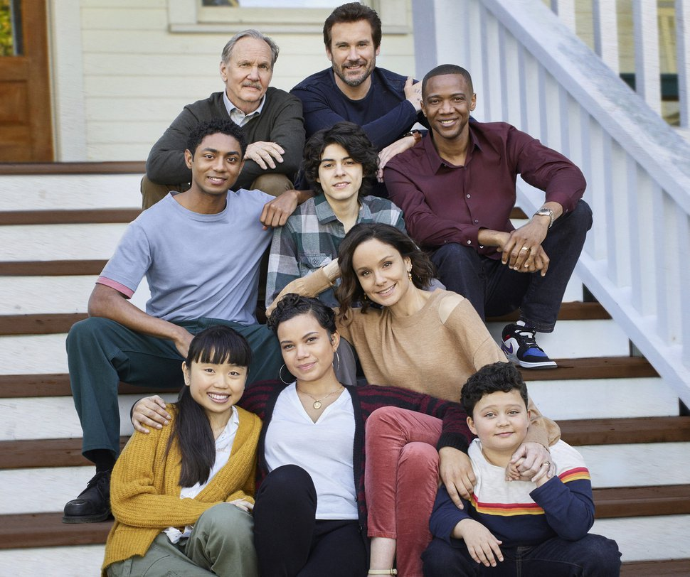 "(Photo courtesy of Jeff Lipsky/NBC) ""Council of Dads"" stars Steven Silver as Evan Norris, Thalia Tran as Charlotte Perry, Michael O'Neill as Larry Mills, Michele Weaver as Luly Perry, Emjay Anthony as Theo Perry, Clive Standen as Anthony Lavelle, Sarah Wayne Callies as Robin Perry, J. August Richards as Dr. Oliver Post, Blue Chapman as JJ Perry."