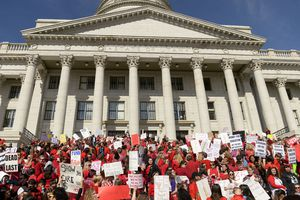(Leah Hogsten     Tribune file photo) Teachers in Salt Lake City's teacher union stage a walkout and rally at the Capitol to protest teacher pay in an effort to pressure the Utah State Legislature as it decides how much money it will allocate to the state's education system Friday. Teachers began the rally at the Federal Building and walked up Capitol Hill to the statehouse for a rally in the rotunda, Feb. 28, 2020.
