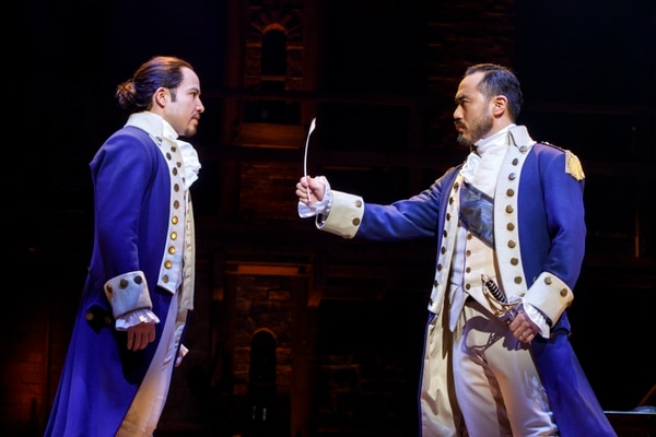 (Courtesy photograph by Joan Marcus) Joseph Morales as Alexander Hamilton and Marcus Choi as George Washington in the national tour, which will play Salt Lake City April 11 through May 6.