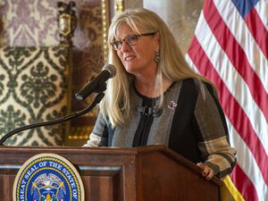 (Rick Egan     The Salt Lake Tribune)       Cindy Crane, Chair, Salt Lake City-Utah committee for the Games, says a few words, during a news conference announcing Utah's next steps towards an Olympic and Paralympic Winter Games, at the Utah State Capitol, Wednesday, Feb. 12, 2020.